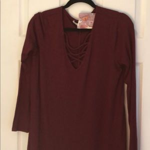 Love Fire Burgundy Long Sleeve Ribbed Dress